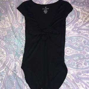 Soft & Sexy Tie Front Black Body Suit